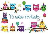 """Edition Colibri 10 Invitaciones en español """"BÚHOS"""": Juego de 10 Invitaciones para el..."""