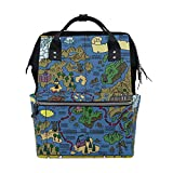 FHTDH Bebé Cambio de pañales Bolsos cambiadores Mochi Watercolor Flower Painting Fashion Diaper Bags Mummy Backpack Multi Functions Large Capacity Nappy Bag Nursing Bag for Baby Care for Traveling