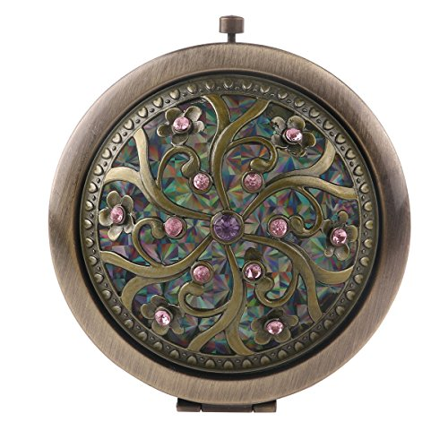 Tinksky Folding Pocket Mirror Round Compact Mirror Double-sided Makeup Mirror