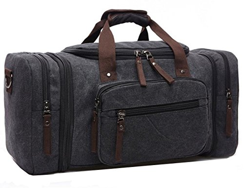 Travel Duffel Canvas&Leather Gmy Bag Overnight Weekender Bags women men (Grey 2)