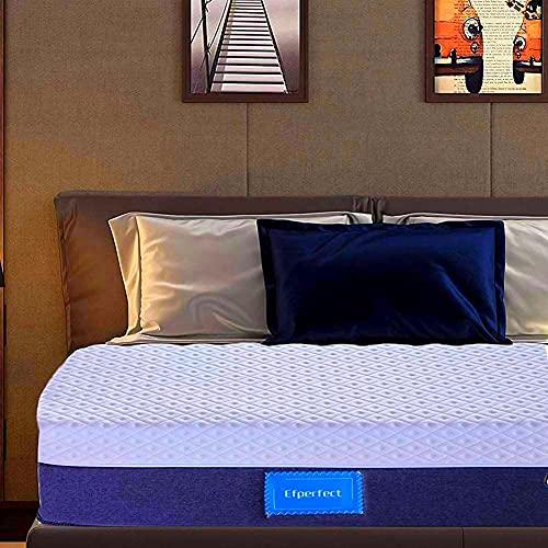 WHYIN Colchón doble, colchones de espuma viscoelástica de onda de 4.9 pies con tela de punto transpirable 3D, resistente al fuego, apto para cama doble (150 x 200 x 25 cm)