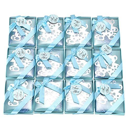 Iycorish Niedlichen B?r Design Hochzeit Lesezeichen Gef?lligkeiten Mit Quaste Und Geschenk Box Baby Dusche Souvenirs Student Kreative B?r Lesezeichen 12 Stücke Blau Box