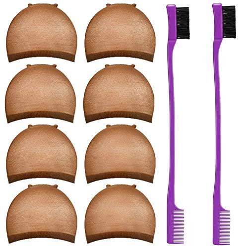 Perücke Kappen Caps 8 Stück Nylon Perückenkappe Elastische Haarnetz mit 2 Stücke Haar Bürste Dopple Seitig Kontrolle Haar Bürsten Edges Brush für Damen(Brown)