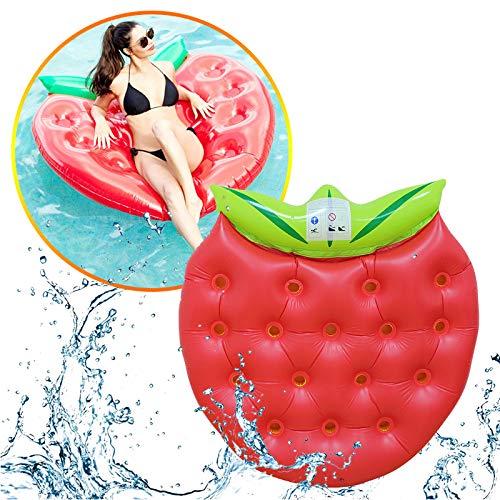 SLCE Luftmatratze Wasser Pool Schwimmende Erdbeere, 160X150cm, Luftmatratze Wasser Aufblasbar, Kinderreisebett Aufblasbare Matratze, Als Wasserspielzeug, Für Erwachsene, Schwimmen