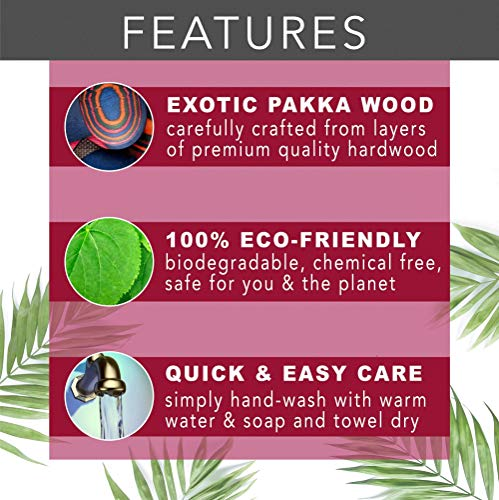 Island Bamboo Peacock Pakkawood Baking Set – 3 Piece Kitchen Bakeware Set with Spoon, Spatula, & Double-sided 1 TBS & 1 tsp Measuring Spoon, Gift Bag Included, Eco-friendly Utensils for Housewarming