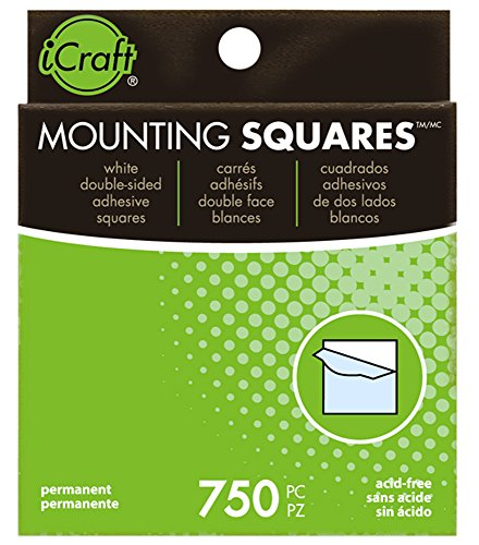 iCraft Mounting Squares Permanent Adhesive, 750 Count, 1/2 Inch, White