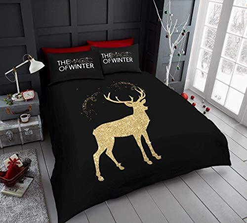 GAX Christmas Duvet Cover Set - Xmas | Snowman | Christmas Pals | Unicorn | Retro | Santa Claus Poly Cotton Winter Festive Quilt Bedding Set With Pillowcase (Glitter Stag, Single Bed Size)