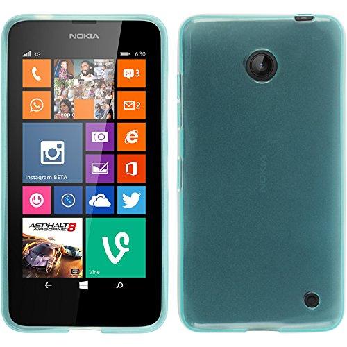 PhoneNatic Hülle kompatibel mit Nokia Lumia 630 - türkis Silikon Hülle transparent + 2 Schutzfolien
