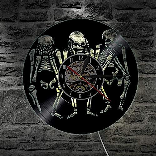 Reloj de pared con luz LED de 7 colores con diseño de calaveras Ver no oír no hablar mal pared sabiduría de los cráneos, arte decorativo de Halloween