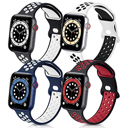 GROGON Compatible with Apple Watch Bands 44mm 42mm 40mm 38mm for Men Women, 4 Pack Silicone Sport Waterproof Breathable Soft Replacement Strap for iWatch SE Series /6/5/4/3/2/1(42mm 44mm M/L,No.1)