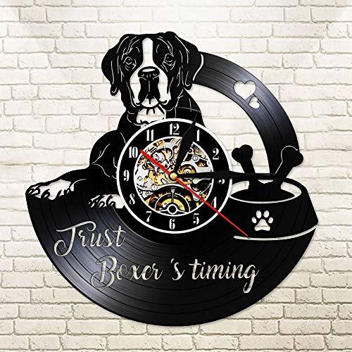 BFMBCHDJ Just Boxer's Timing Love Heart Paw Bone Funny Family Member Personality Wall Clock I Love Boxer Dog Joke Vinyl LP Night Light No LED 12 inches