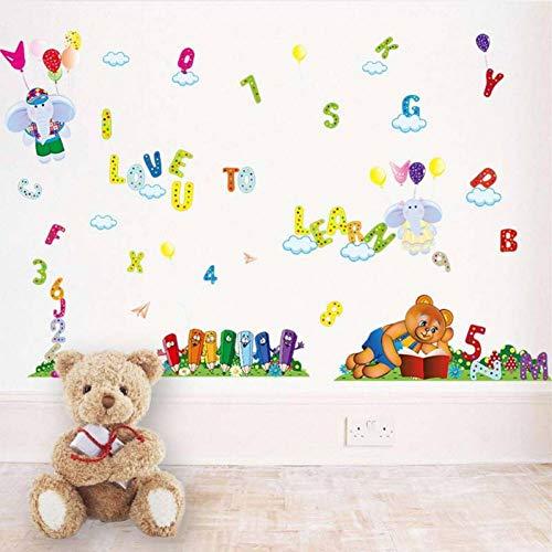 GUDOJK Muursticker Arabische cijfers Engels letter muur stickers DIY verwijderbare vinyl kinderen studie slaapkamer decoratie leren