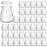 Glass Jars, KAMOTA 40 PACK 4 oz Clear Yogurt Jars With PE Lids, Glass Pudding Jars Yogurt Jars Ideal for Jam, Honey, Wedding Favors, Shower Favors, Baby Foods (150ml)