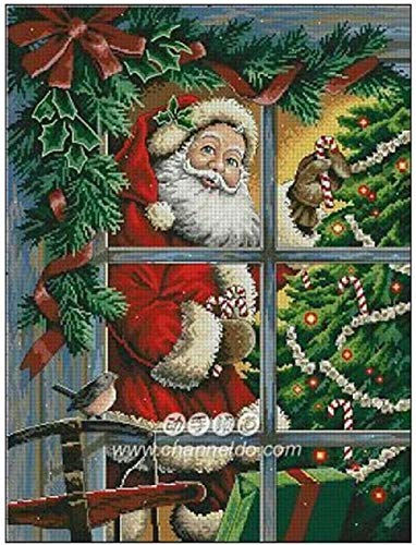 punto croce kit da ricamare,Babbo Natale davanti alla finestra-regali principiante murale bambini adulti regali di Natale-40x50cm