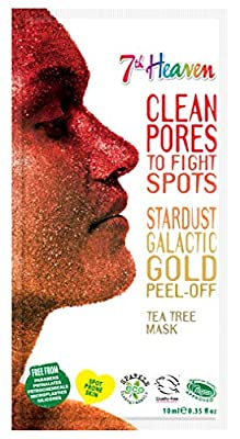 StarDust Galactic Gold Peel-Off Tea Tree Mask By 7th Heaven | Blackhead Removing for Spot Prone Skin - Revives & Purifies for Ultra Clean, Glowing Skin from Montagne Jeunesse
