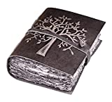 Vintage Leather Journal Tree of Life - Leather Bound Journal - Antique Gray Deckle Edge Paper - Sketchbook - Journal for Women Men - Book of Shadows - 8 X 6 Inches (Chalkboard Grey) by LEATHER VILLAGE
