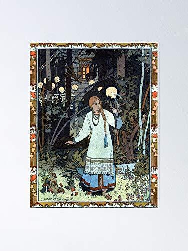 AZSTEEL Vasilisa The Beautiful At Hut Of Baba Yaga - Ivan Bilibin Poster 11,7 x 16,5