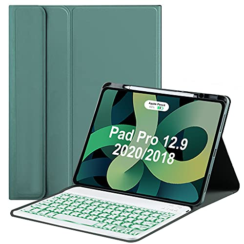Keyboard Case for iPad Pro 12.9 inch 2020/2018,Built-in Pen Holder with 7 Colors Backlit Magnetic Detachable Wireless Keyboard Folio Cover,Tablet Protective for iPad Pro 12.9 4th Gen/3 rd Gen