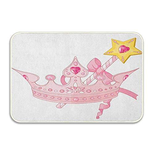 Corona y varita mágica para cinta de princesa verdadera, felpudo con ilustraciones antiguas de color amarillo dorado, felpudo de franela suave para la puerta de entrada al hogar, alfombras decorativas