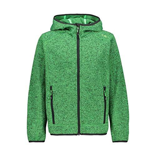 CMP – F.LLI Campagnolo Jungen Knit Tech Polyester-Strickfleecejacke mit Kapuze Fleecejacke, Verde Fluo Mel-Antracite, 164