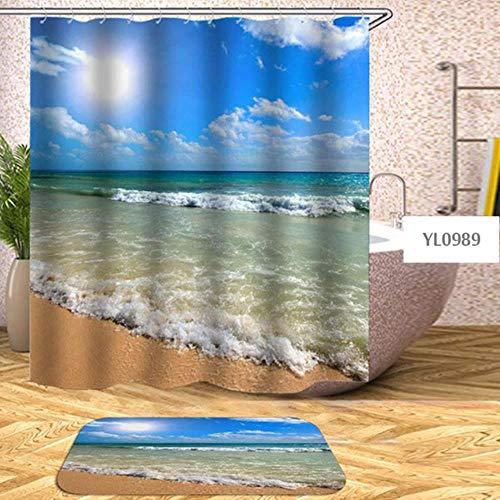 LCZMQRCLMZRQWaterdicht douchegordijn voor familiebadkuip strandshell zee douchegordijn badafdekking oversized met 12 haken, patroon 6, B168xH180cm