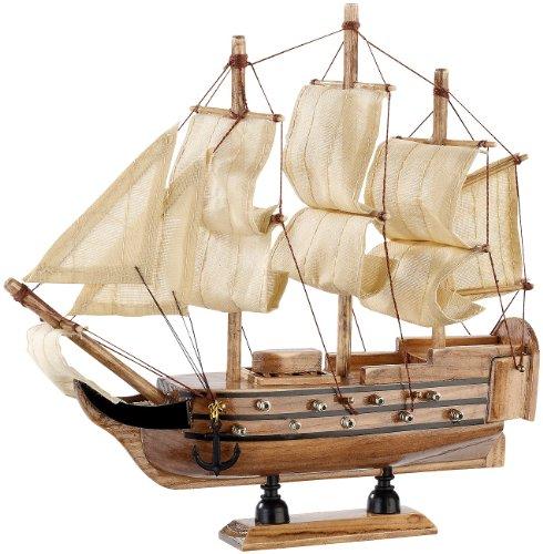 Playtastic Holzschiff: 70-teiliger Schiff-Bausatz Flaggschiff aus Holz (Modellschiff)