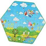 Sharplace Cojín Suave de Dormitorio Alfombra de Paño Grueso Coralino para Tienda de Campaña Infantil - Multicolor, Hexagonal plástico 140x120cm