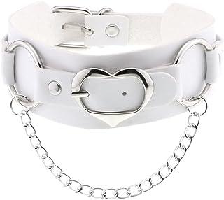 Women Heart PU Leather Choker Necklace Girls Punk Rock Chain Rivet Collar Necklace Adjustable