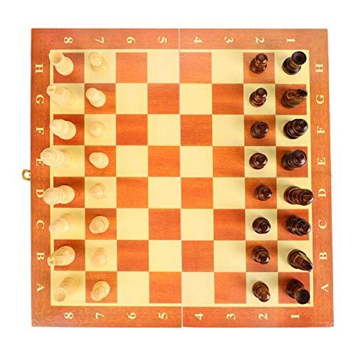 MOH Tablero de ajedrez Tablero de ajedrez de Madera portátil Tablero Plegable Juego de ajedrez para Fiestas Actividades Familiares