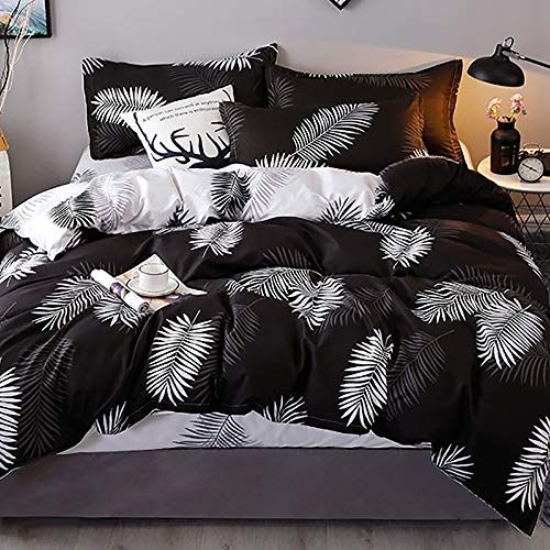 Michorinee Ropa de cama de 140 x 200 cm, diseño de hojas y palmeras, funda nórdica de 2 piezas, suave microfibra, juego de cama reversible con cremallera, 140 x 200 + 70 x 90 cm