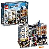 LEGO Creator Expert-Gran Plaza, Set de construcción con Edificios de Juguete, Locales comerciales, Artistas y Adornos callejeros (10255)