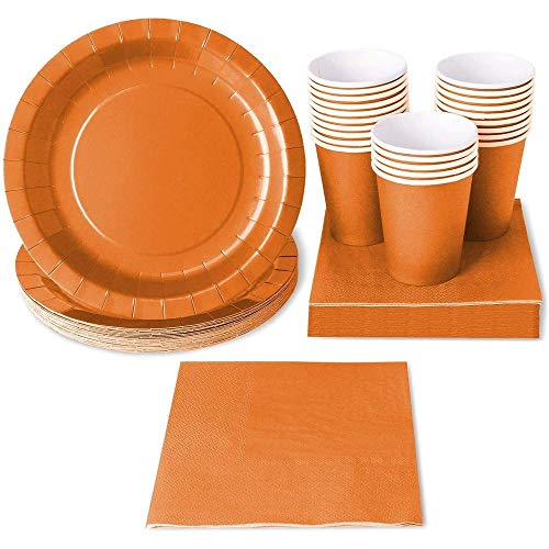 Orange Party Supplies, Paper Plates, Cups, and Napkins (Serves 24, 72 Pieces)