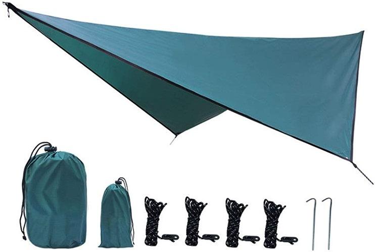 Bache de tente 11.8x9.5 pieds étanche hamac pluie mouche tente parasol bache abri avec piquets cordes équipeHommest de survie kit pour le camping randonnée sac à dos de pêche plage portable léger pour pi