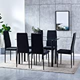 HomeSailing 7 Pieces Black Dining Room Table and Chairs Set of 6, Glass Dining and 6 Velvet Kitchen Chairs for Small Space