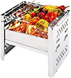 Yoler Wood Burning Camp Stoves Folding Stainless Steel Backpacking Stoves for Picnic BBQ Hiking Cooking(7.9' L x6.1 W x7.1 H)