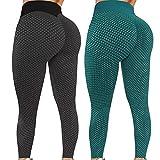 Chlry Damen Honeycomb Leggings Lange Butt Lifte Anti-Cellulite Yogahosen mit Bauchkontrolle Stretch...