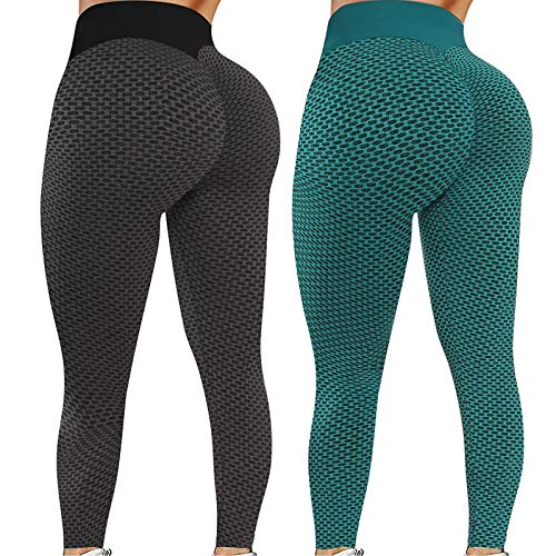 Liably 2PC Damen Stretch Yoga-Hosen, Fitness Lauf Gym Sport Active Pants, Honeycomb-Hosen, Anti-Cellulite, mit hohen Taille, Compression Sport Fitness mit Bauchkontrolle Grün XX-Large