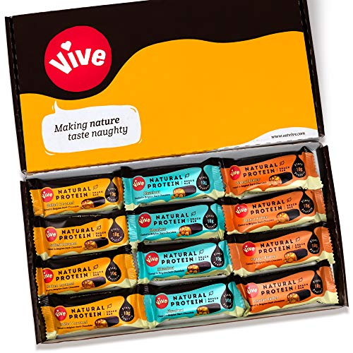 Vive Natural Vegan High Protein Bar – High Protein, 100% Natural (Variety Pack, x12)