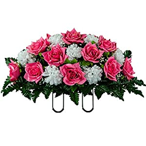 Artificial Cemetery Flowers Saddle-Arrangement – Pink Rose & White Mums Silk Fake Flowers for Outdoor Grave-Decorations – Non-Bleed Colors, Easy Fit