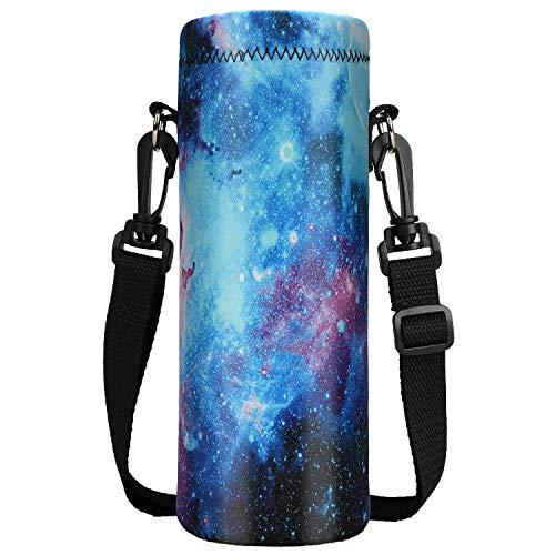 ToLuLu Wasserflaschen-Tragetasche, Isolier Neopren Trinkflasche Beutel Halter für 750 ml / 1000 ml mit Schultergurt, für Edelstahl/Glas/Kunststoff-Flaschen, Sport, Energy-Drinks, Galaxy, 1000ML/34oz