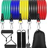 MISSJJ 11Pcs Set de Bandas de Resistencia Fitness, Bandas Elasticas Musculacion,Cintas Elasticas Musculacion para Yoga,Tobillos, Fisioterapia