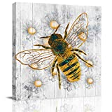 Chucoco Oil Paintings On Canvas Wall Art Honey Bee Daisy Photo Poster Prints Modern Artwork Home Decor for Living Room Kitchen, Stretched and Framed Ready to Hang, Grey Wood Texture