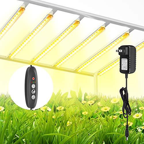 TOPLANET Lámpara de Planta, 60W Lampara Led Cultivo Tubo, T5 Full Spectrum 3500K Luz Plantas Crecimiento con Temporizador Automático 3/6/12H, 4 Niveles de Brillo Led Cultivo para Indoor Cultivo