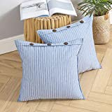 <span class='highlight'><span class='highlight'>MIULEE</span></span> Pack of 2 Button Cushion Cover Throw Pillow Case Cross Shape Faux Linen Square Home for Sofa Chair Couch Living Room Bedroom Decorative Teal 20 x 20 inch 50cm x 50cm
