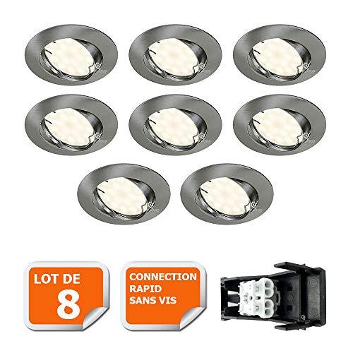 LOT DE 8 SPOT LED ENCASTRABLE COMPLETE ORIENTABLE ALU BROSSE AVEC AMPOULE GU10 230V 5W, BLANC NEUTRE
