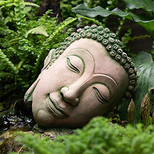 Gandhanra Handmade Thailand Style Amida Buddha Statue Crafts,Sand & Stone Carving,Buddha Head Ornaments for Meditation,Zen,Home Garden Decor