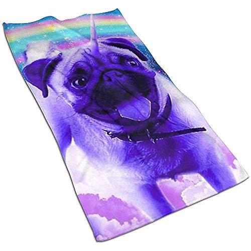 Snbin Rainbow Pug Microfibra Toallas de Mano Toallas Toallas de Secado rápido Toallas Deportivas (40x70cm) Uso para Viajes, Fitness, Yoga
