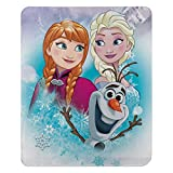 """Made of 100% polyester Made in China Disney's Frozen fleece character blanket with bright and vibrant graphics - """"Snowy Journey"""" Design Measures 50-inches by 60-inches Machine washable"""