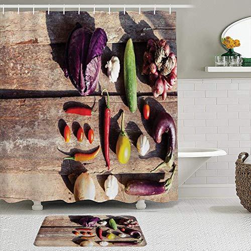 TARTINY 2-teiliges Duschvorhang-Set mit rutschfesten Teppichen,Duschvorhang setzt Badematte Gemüse Bauernmarkt mit Auberginen Kirschtomaten Knoblauch Auberginen Gurken Zwiebeln Multicolor mit 12 Haken