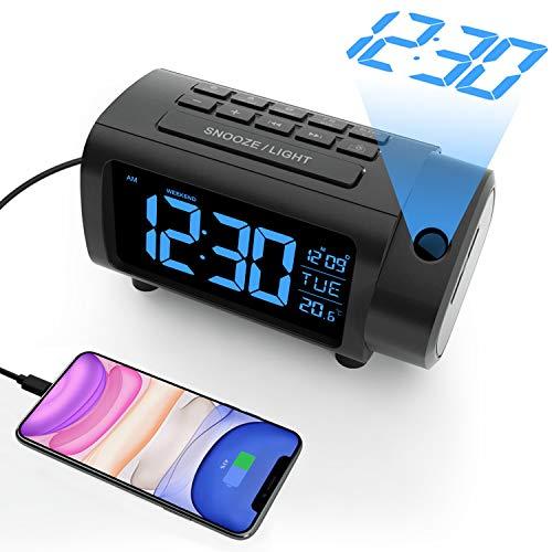 Radio Réveil à Projection, Liorque Horloges à Projection 180° Reveil Projecteur FM avec Alarme, Grand Affichage VA, 4 Niveaux de Luminosité de l'écran, Numérique USB, Fonction Snooze, 12/24H
